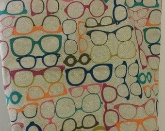 Multicolor glasses print tote bag