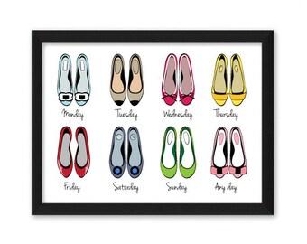 Abbildung Kunstdruck hübsch Modewoche Schuhe Wohnungen Ballerinas Montag Freitag-Sonntag