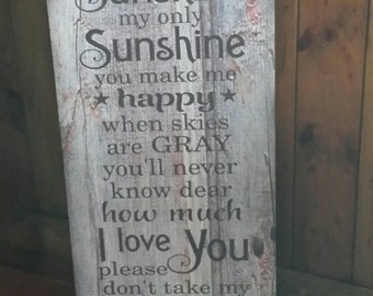 You are my Sunshine Wood Sign or Canvas Wall Art - Baby Shower, Mother's Day, Christmas, Graduation, Grandchild