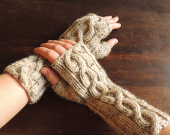 Hand Knit Arm Warmers, Wrist Warmers, Fingerless Mitts – MEDIUM (9.5in, 24cm) - Many Colours Available - Made to Order