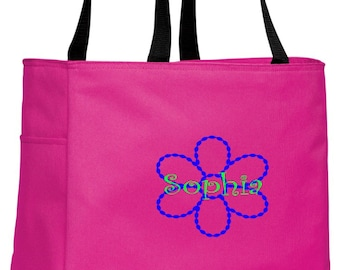 Personalized Flower Tropical Pink Essential Tote with FREE Personalization & FREE SHIPPING    B0750