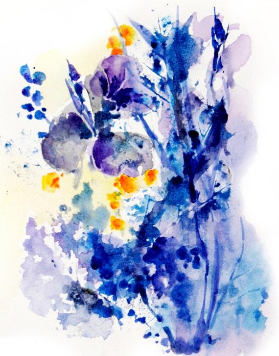 Abstrait fleurs aquarelle Art Print, peinture moderne bleu Floral abstraite, peinture aquarelle , mur