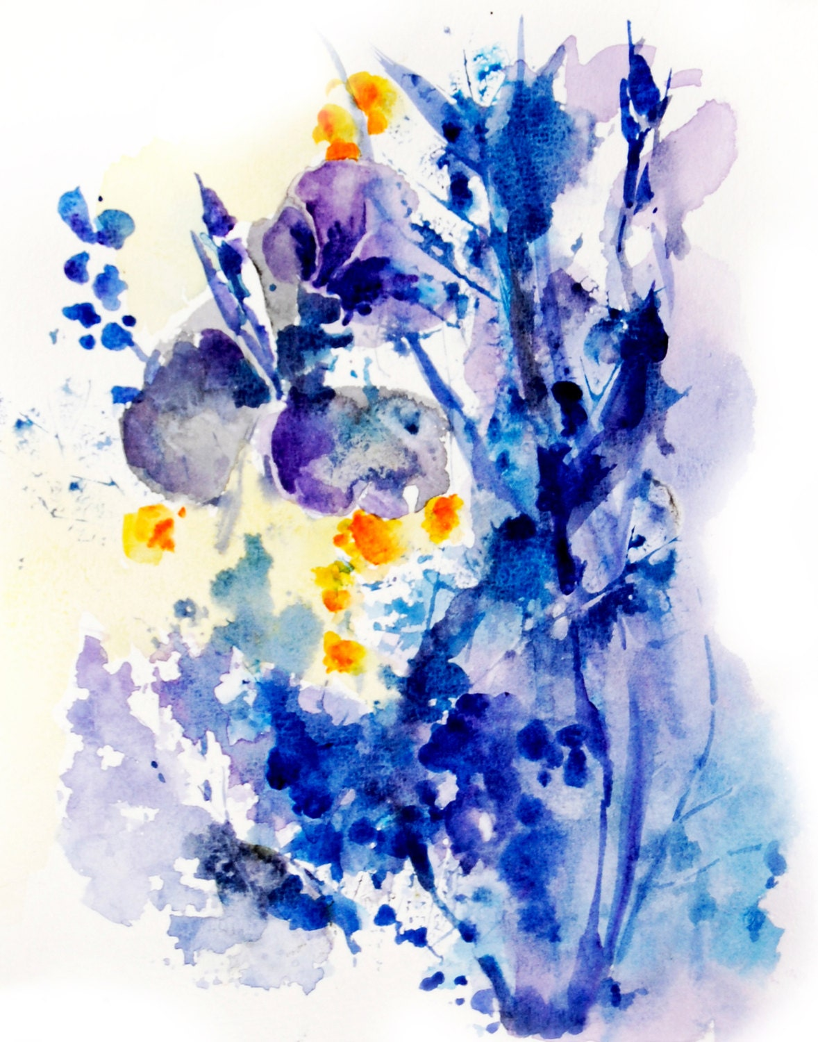 Abstract Flowers Watercolor Painting Art Print Abstract