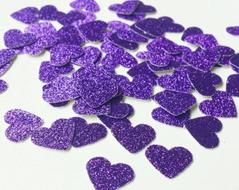 Purple Heart Confetti Purple Glitter Heart Confetti Purple Paper Hearts Glitter Purple Confetti Purple Wedding Table Scatter