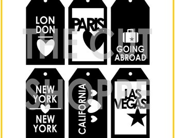 The Around the World Tags cut file consists of 6 tags, that can be used on your scrapbooking and papercrafting projects.