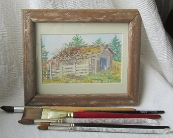 Small Old Barn Painting with Rustic Frame
