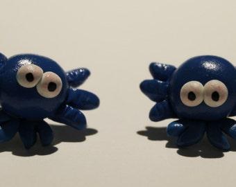 Polymer Clay Blue Crab Earrings Jewel Handmade