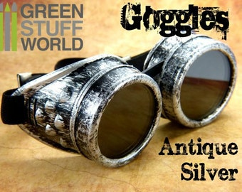 SteamPunk GOGGLES in ANTIQUE SILVER color - with adaptable elastic bands