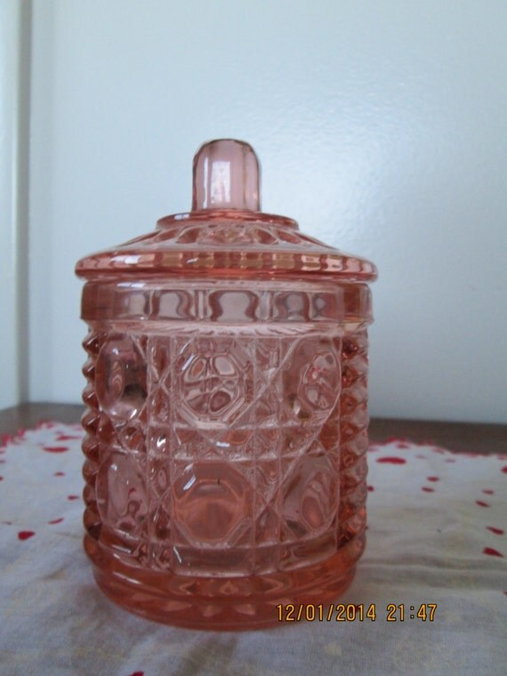 Pink Depression Indiana Glass Marmalade Jar Windsor Button
