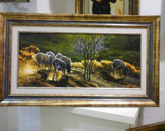 Sheeps/Oil painting/Oil On Canvas/Landscape View/Sheeps In The Valley/Made To Order/30x60 cm/Landscape Painting/Sheeps painting/israeli art