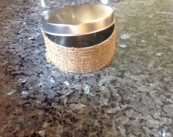Small Metal Tin Wrapped in Burlap
