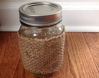 Small Mason Jar Wrapped in Burlap.