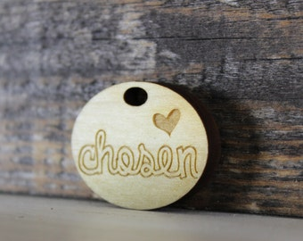 pendant, wood, necklace, keychain,chosen, adoption, adopted, christian