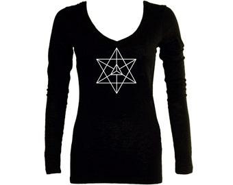 Kabbalah symbols Merkabah Merkava black women long sleeves t-shirt - Sacred geometry graphics