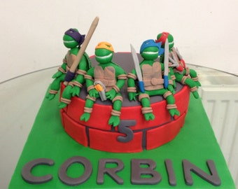 Ninja turtles edible cake topper made from gum paste