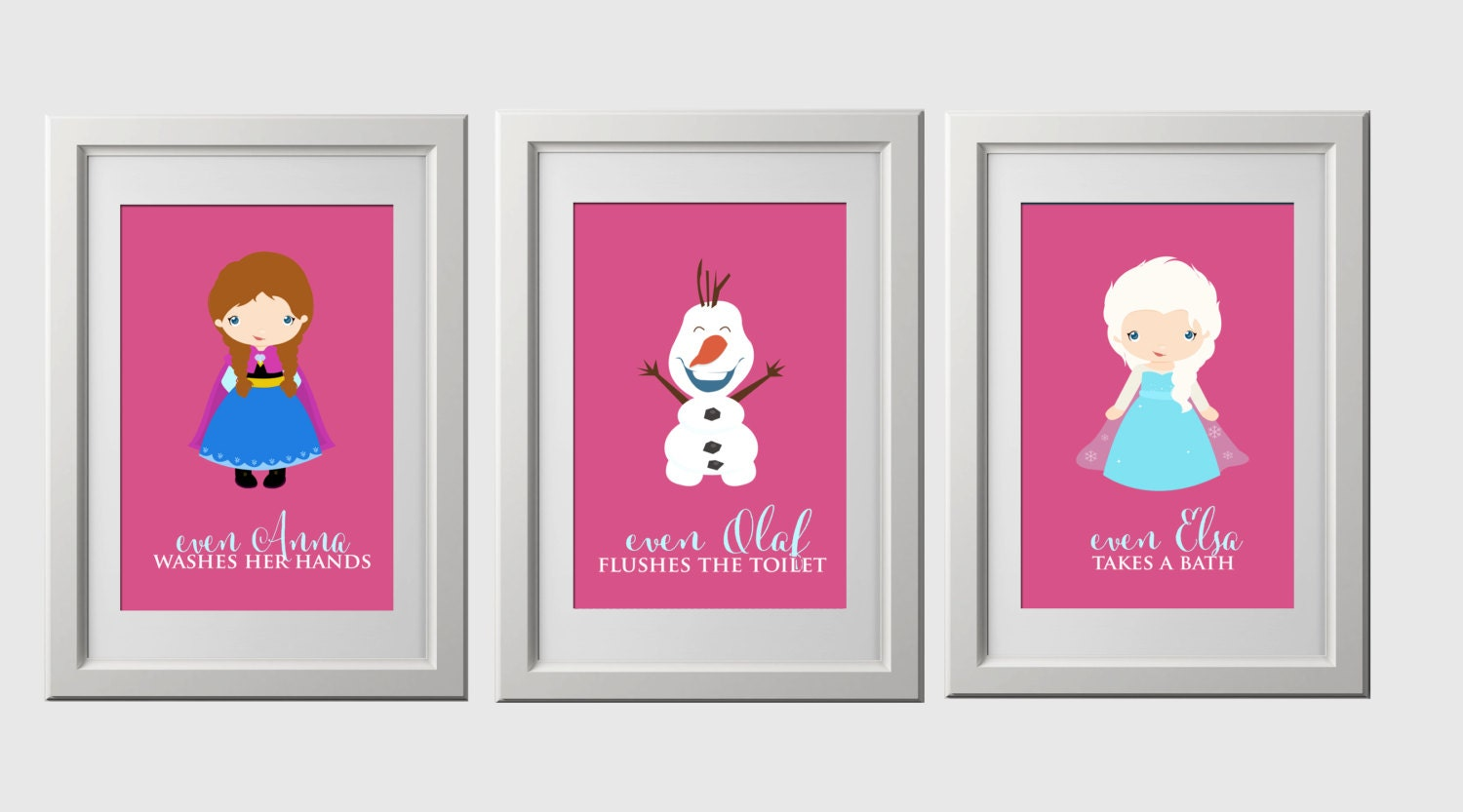 zoom. frozen bathroom wall prints anna elsa and olaf with fun