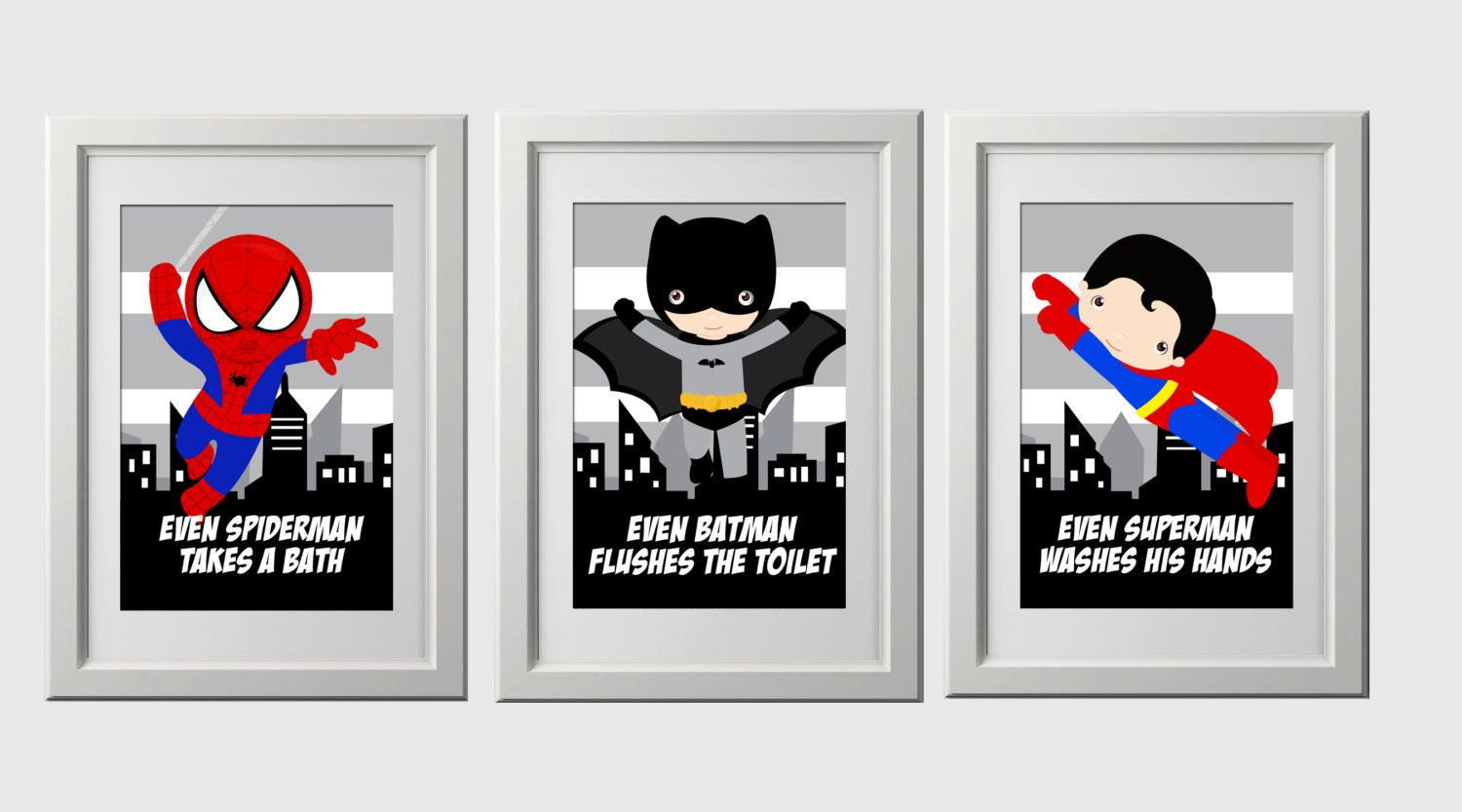 superhero bathroom sets.  zoom superhero bathroom wall prints instant download set of 3