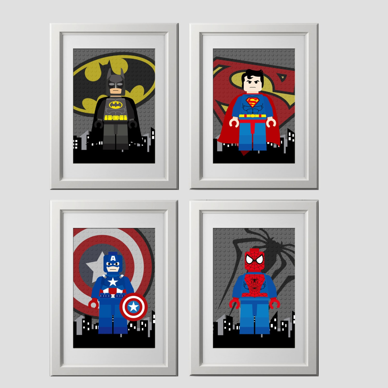 lego superhero wall art prints batman by amysdesignshoppe on etsy. Black Bedroom Furniture Sets. Home Design Ideas