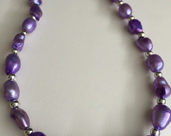 Royal purple fresh water pearl necklace