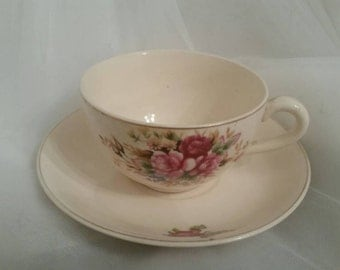 Cream & Rose Vintage Teacup and Saucer