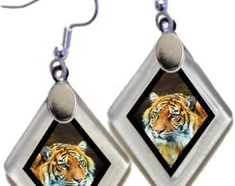 Earrings Donation SAVE THE TIGERS! rescued window glass