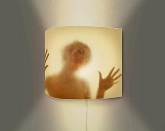 Modern wall lamp with art print on lampshade - motif SENSUAL BEAUTY - illuminated wall decoration - original art on lamps