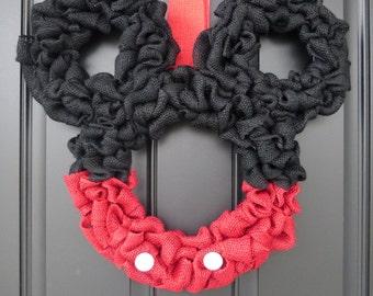Disney Inspired Mickey Mouse Burlap Door Wreath