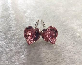 Pink heart earrings- lever back heart earrings- Swarovski crystal heart earrings- valentine's earrings