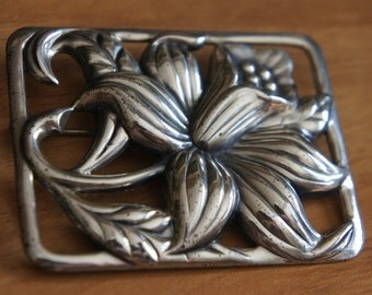 Jewelry Brooch Pin  Vintage Sterling Silver 925  Marked DANECRAFT Art Nouveau Floral Brooch Pin 1940s W-060
