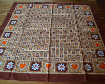 Two nice vintage rectangular tablecloths with heart decor, brown and orange, sixties