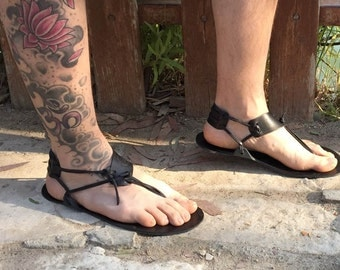 Barefoot Sandals, Men Sandals, Handmade Sandals, Black Sandals, Boho Sandals, Summer Sandals, Beach Sandals, Men Barefoot Sandals