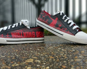 The Walking Dead Hand Painted Rick Grimes Graveyard Hand Painted Canvas Lace Up Shoes