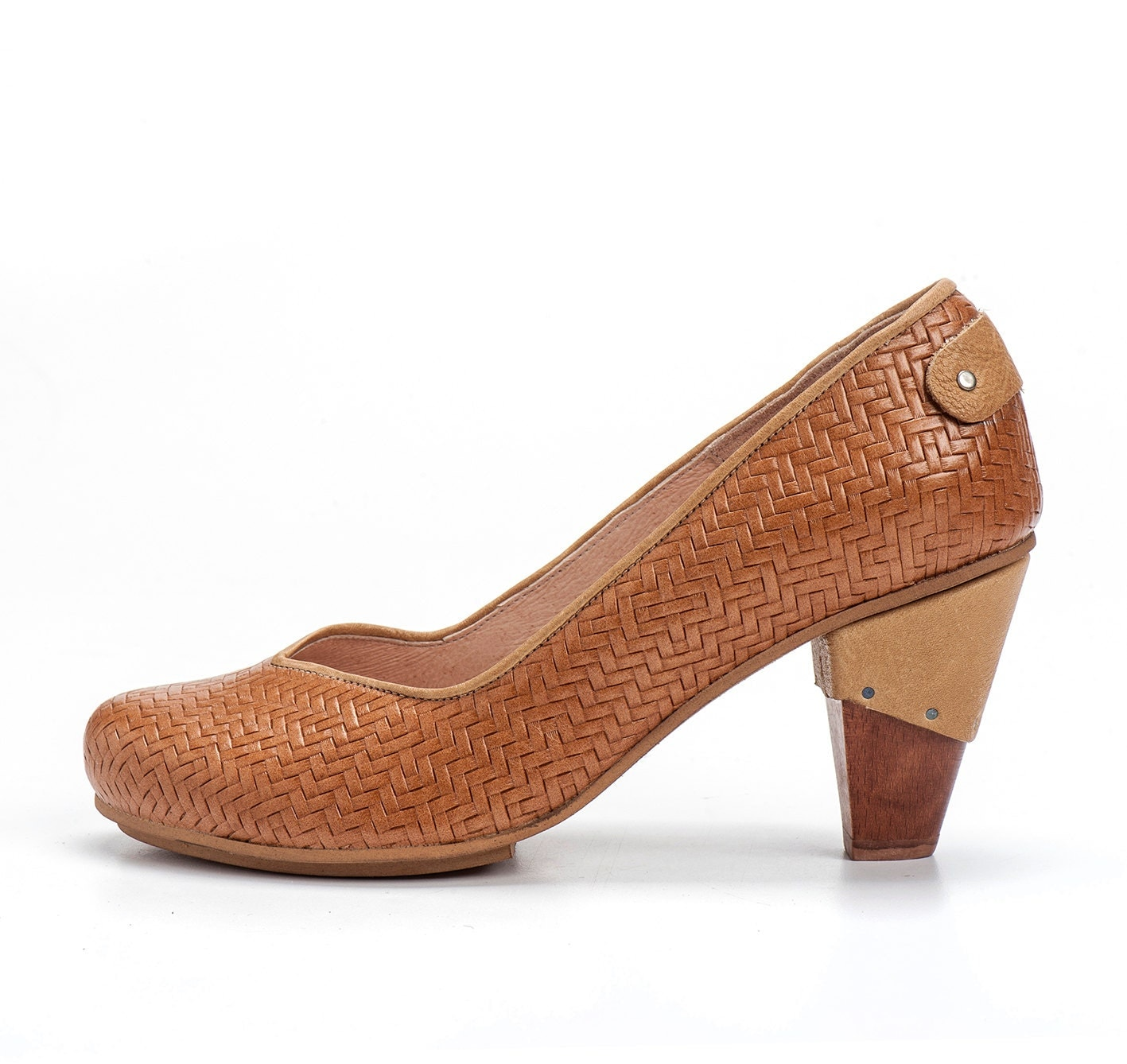 camel high heel leather shoes brown by