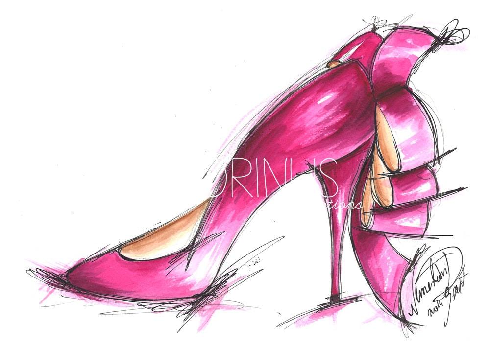 Pink shoe art Fashion sketch High heel art by ...