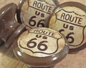 Handmade Route 66 Knob Drawer Pulls, Birch Wood, Old Highway Sign Cabinet Pull Handles, Dresser Knobs, Made To Order