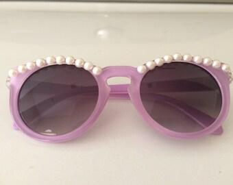Pearl Sunglasses-- Lavender Round Sunglasses White Pearls