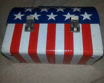 1970's American Flag Steel Lunch Box