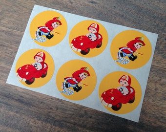 Stickers (6 pieces) 3,8 cm Cute fireboy (D04)