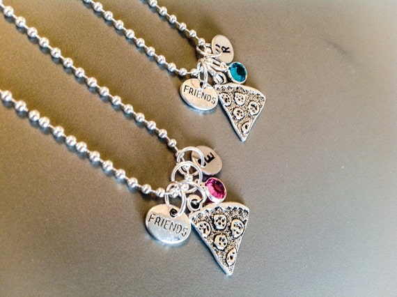 Best friends gift, Pizza necklaces,Set of two matching necklaces