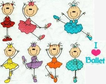 Baby Stick Ballet - INSTANT DOWNLOAD - 4x4 hoop - Machine Embroidery