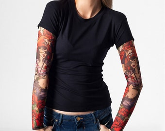 Tattoo t shirt with mystic cat tattoo sleeves temporary for Tattoo sleeve shirts for women
