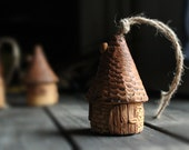 Miniature house Ceramic Bell Rustic Tiny Houses Handmade Bells Collection Little house Home decoration Collection Little bell Ceramic houses