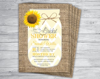 MASON JAR SHOWER Any Event or Color Burlap Country Chic Yellow Chevron Unique Rustic Printed Bridal Reunion Rehearsal Dinner Invitation