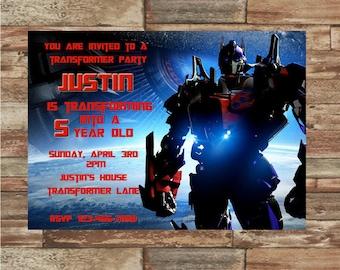 Transformer Optimus Prime Birthday Invitation