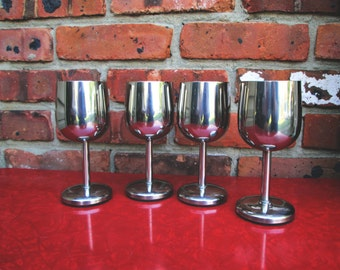 Wine glasses Stainless steel - set of four and Oneida serving tray