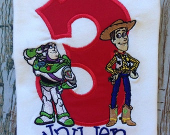 Toy story inspired custom embroidered personalized birthday shirt