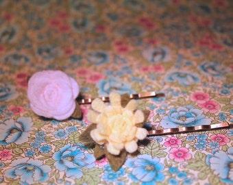 wool felt flower bobby pins