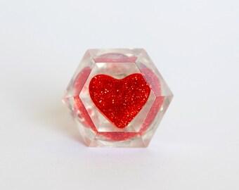 Handmade Diamond Resin Ring with Adjustable band