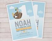 Noah's Ark Birthday Invitation - DIGITAL DOWNLOAD ONLY