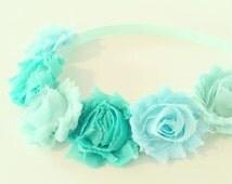 Mint Green Flower Crown Headband // Mint Green Flower Crown Headband for Baby, Toddler + Kids, Spring Summer Mint Green Aqua Flower Crown
